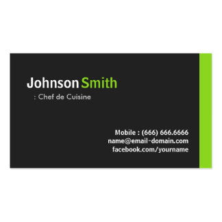 Chef de Cuisine - Modern Minimalist Green Double-Sided Standard Business Cards (Pack Of 100)