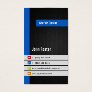 Chef de Cuisine - Modern Stylish Blue Business Card