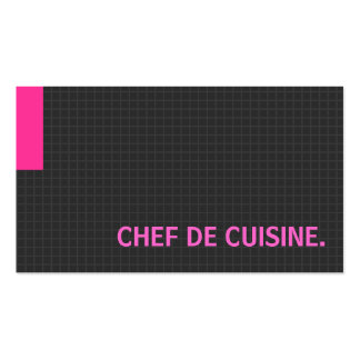 Chef de Cuisine- Multiple Purpose Pink Double-Sided Standard Business Cards (Pack Of 100)