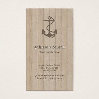 Chef de Cuisine - Nautical Anchor Wood Business Card