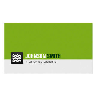 Chef de Cuisine - Organic Green White Double-Sided Standard Business Cards (Pack Of 100)