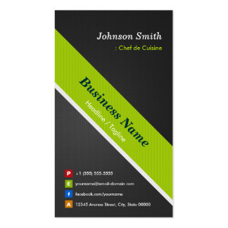 Chef de Cuisine - Premium Black and Green Double-Sided Standard Business Cards (Pack Of 100)