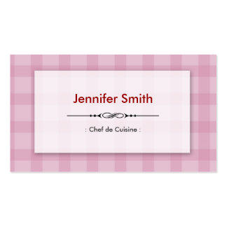 Chef de Cuisine - Pretty Pink Squares Double-Sided Standard Business Cards (Pack Of 100)