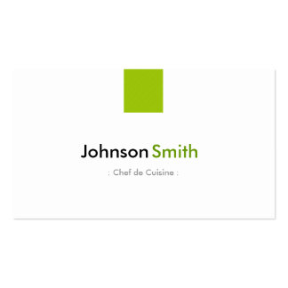 Chef de Cuisine - Simple Mint Green Double-Sided Standard Business Cards (Pack Of 100)