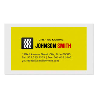 Chef de Cuisine - Urban Yellow White Double-Sided Standard Business Cards (Pack Of 100)