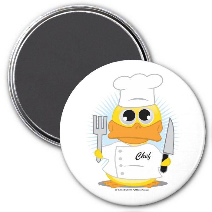 Chef Duck 3 Inch Round Magnet