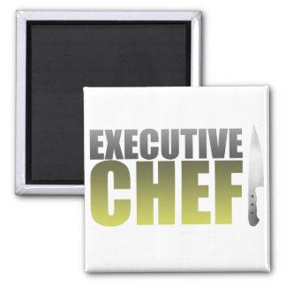 Chef ejecutivo amarillo imán cuadrado