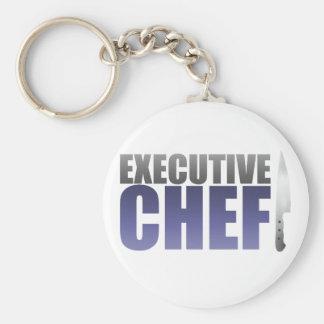 Chef ejecutivo azul llavero redondo tipo pin
