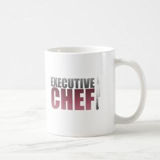 Chef ejecutivo rojo taza básica blanca