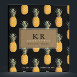 """chef elegant monogram with pineapples, recipe 3 ring binder<br><div class=""""desc"""">A nice pattern of yellow pineapples on black with a monogram,  for the stylish chef. An amazing design personalized with your own name and subject,  to collect special recipes</div>"""