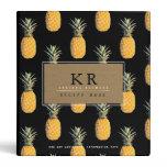 chef elegant monogram with pineapples, recipe 3 ring binder