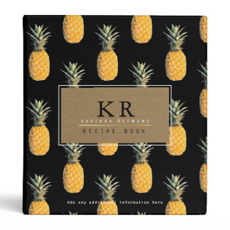 chef elegant monogram with pineapples, recipe 3 ring binder