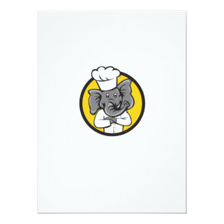 Chef Elephant Arms Crossed Circle Cartoon Card