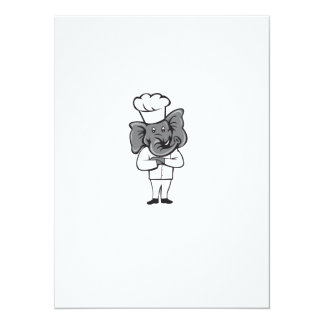 Chef Elephant Arms Crossed Standing Cartoon Card