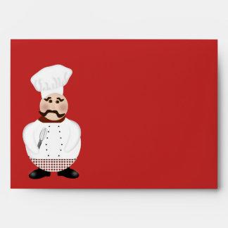 Chef Envelope. Cartoon chef - baker on red Envelope