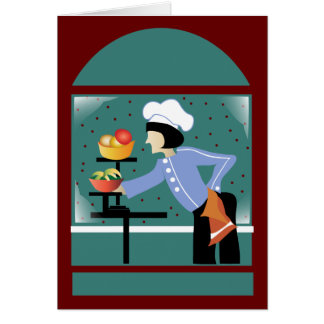 Chef French Blue Greeting Card