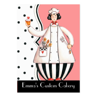 Chef Girl Cupcake Business Card - with Black Hair