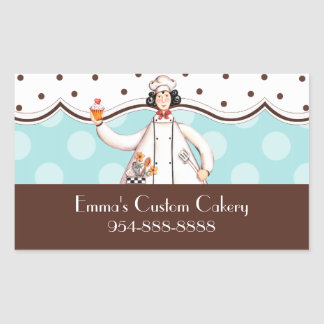 Chef Girl Rectangle Label - Brown with Black Hair