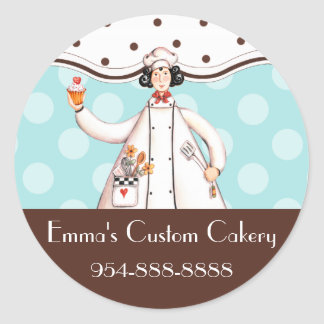 Chef Girl Round Label - Brown with Black Hair Classic Round Sticker