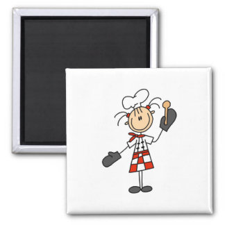 Chef Girl with Wooden Spoon Magnets