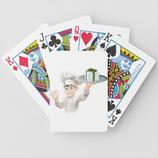 Chef giving gift bicycle poker deck