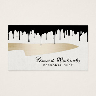 Chef Gold Knife Catering Modern Black Dripping Business Card