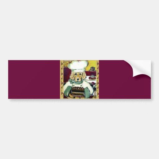 Chef Golden Retriever Bumper Sticker