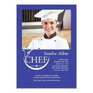 """Chef Graduation Photo Invitation 5"""" X 7"""" Invitation Card"""