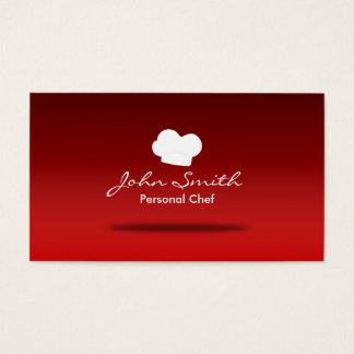 Chef Hat Catering Plain Red Professional Business Card