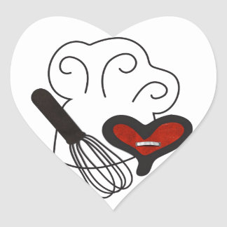 Chef hat cooking love heart sticker