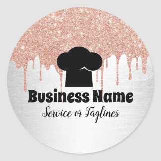 Chef Hat Cupcake Bakery Modern Drips Classic Round Sticker