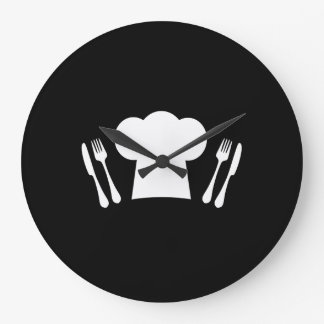 Chef Hat Knife and Fork Kitchen or Restaurant Large Clock