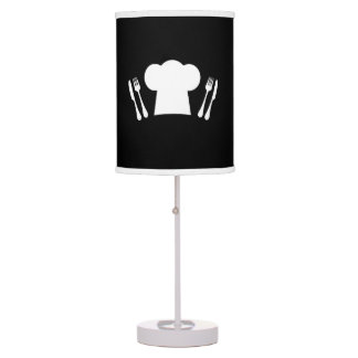Chef Hat Knife and Fork Kitchen or Restaurant Table Lamp