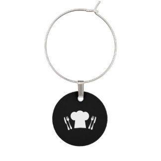 Chef Hat Knife and Fork Kitchen or Restaurant Wine Charm