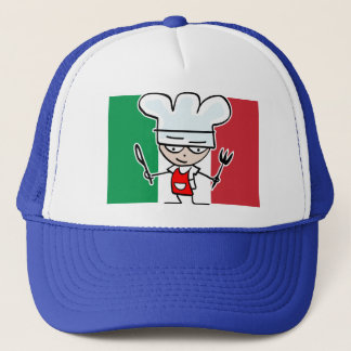 Chef hat with italian flag and cool cartoon