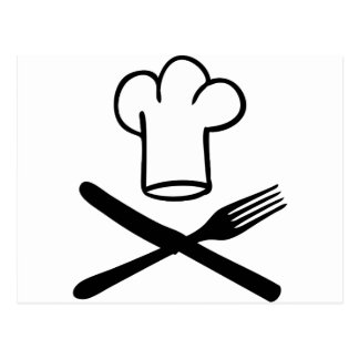 chef hat with knife and fork icon postcard