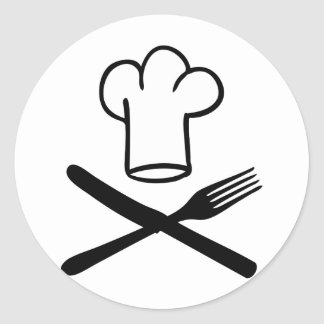 chef hat with knife and fork icon stickers