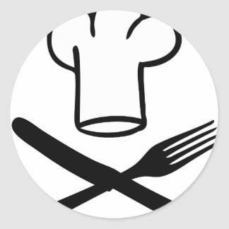 chef hat with knife and fork icon sticker