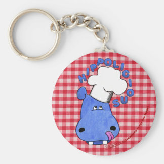 Chef Hippo- Hippolicious Basic Round Button Keychain
