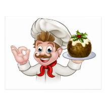 Chef Holding Christmas Pudding Postcard