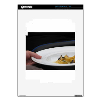 Chef holding cooked handmade Agnolotti to serve Decal For The iPad 2