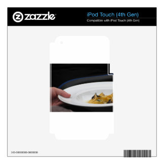 Chef holding cooked handmade Agnolotti to serve Decals For iPod Touch 4G