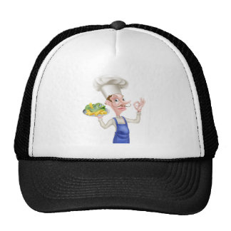 Chef Holding Fish and Chips Giving Perfect Sign Trucker Hat