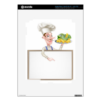 Chef Holding Fish and Chips Pointing at Sign Decal For iPad 3