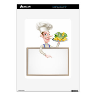 Chef Holding Fish and Chips Pointing at Sign Decal For The iPad