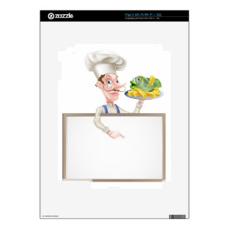 Chef Holding Fish and Chips Pointing at Sign Skins For iPad 2