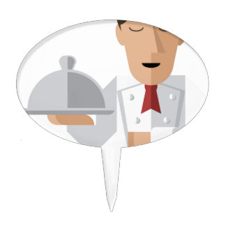 Chef holding serving platter cake toppers