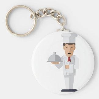 Chef holding serving platter basic round button keychain