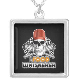 Chef Humor: Food Whiskerer v1 Silver Plated Necklace