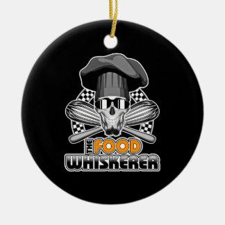 Chef Humor: Food Whiskerer v3 Double-Sided Ceramic Round Christmas Ornament